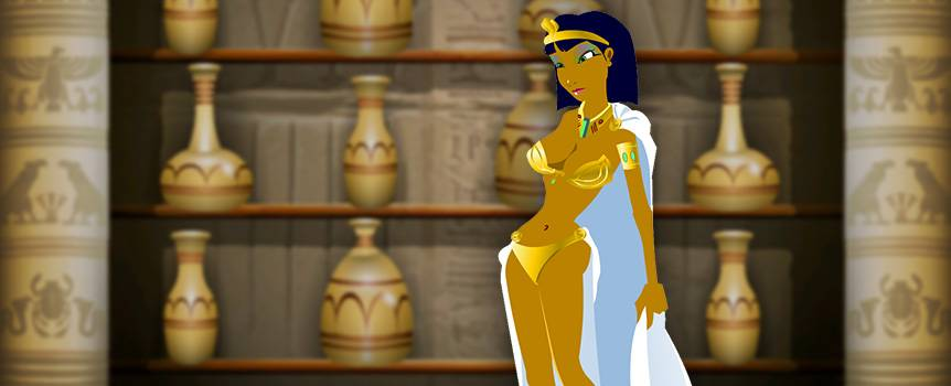 Travel back in time and acquaint yourself with the beautiful Queen of the Nile as you search for riches in this enchanting 5-reel slot. Hieroglyphs, magical scarabs, and mystical ancient artifacts will lead you toward the ultimate treasure as you spin. Gain entry to the palace of the Queen herself and peruse her personal collection of wine jugs to find what precious things she's hidden inside. Be on your guard as you spin through the vault, because a poisonous asp is always lurking , ready to attack unsuspecting victims. If you have what it takes to prosper in her world, your valor will be rewarded.