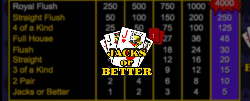 In this draw poker game, you are dealt 5 cards and have to choose which ones to keep. Discard the rest and press 'Deal' to get new ones. If you have a pair of Jacks or better, you win.